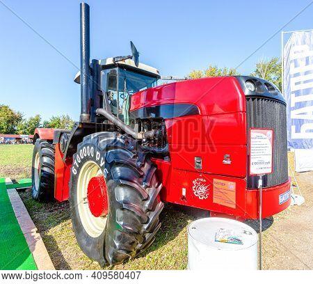 Samara, Russia - September 23, 2017: Large Modern Agricultural Wheeled Tractor Buhler Versatile 435
