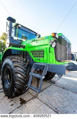 Samara, Russia - September 23, 2017: Large Modern Agricultural Wheeled Tractor Kirovets 714 Petra-zs
