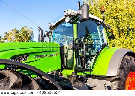 Samara, Russia - September 23, 2017: Agricultural Wheeled Tractor Fendt 1050 Vario At The Annual Vol