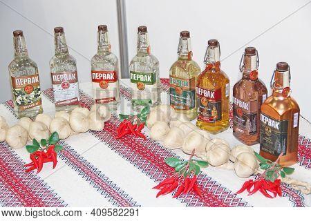 Kyiv / Ukraine. 09 March 2019: Pervak Vodka Presented At Exhibition. Variety Of Assortment Of Vodka