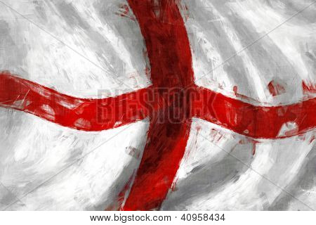 Flag Of England Abstract Digital Painting Background
