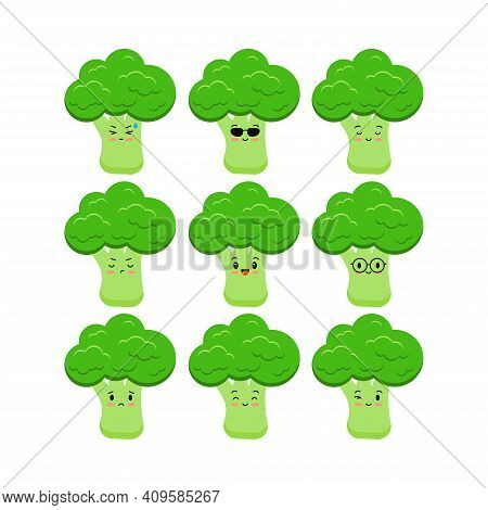 Cute Broccoli Funny Cartoon Vegetable Icon Set Isolated On White Background. Food Character Smile Sa