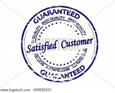 Rubber Stamp With Text Satisfied Customer Inside, Vector Illustration