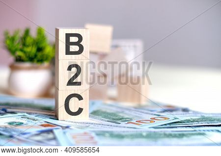 Wooden Cubes With The Letters B2c Arranged In A Vertical Pyramid On Banknotes, Green Plant In A Flow