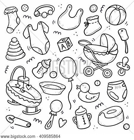 Hand Drawn Set Of Baby Shower Things, Toy, Rattle, Milk Bootle, Clothes. Comic Doodle Sketch Style.