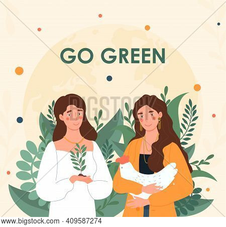 Two Female Characters Are Promoting Healthy Lifestyle. Motivational Poster With Go Green Lettering D