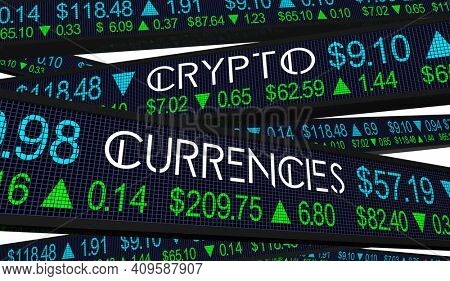 Crypto Currencies Stock Market Currency Trading Prices Exchange Rates 3d Illustration