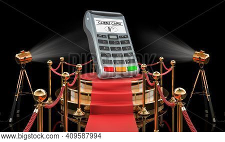 Podium With Pos-terminal, 3d Rendering Isolated On Black Background