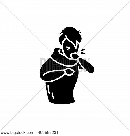 Cough Glyph Icon.character Having A Bad Cough.common Cold.flu Infection And Influenza Symptoms.healt