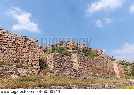 Chitradurga, Karnataka, India - November 10, 2013: Fort Or Elusuttina Kote. Brown Stone Outer Rampar