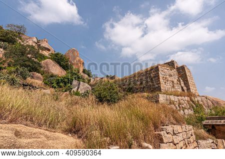 Chitradurga, Karnataka, India - November 10, 2013: Fort Or Elusuttina Kote. Forward Brown Stone Ramp