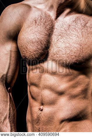 Torso With Six Packs Looks Attractive. Handsome Man Muscular Topless Body. Strong Man With Torso. To