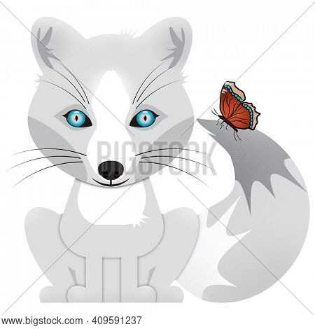 Generic Arctic White Fox with a Mourning Cloak Winter Butterfly Sitting Together Isolated on White Illustration with Clipping Path