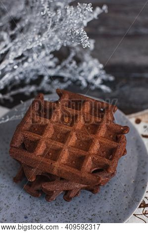 Traditional Belgian Waffles With Cocoa On Wooden Background, Homemade Healthy Breakfast