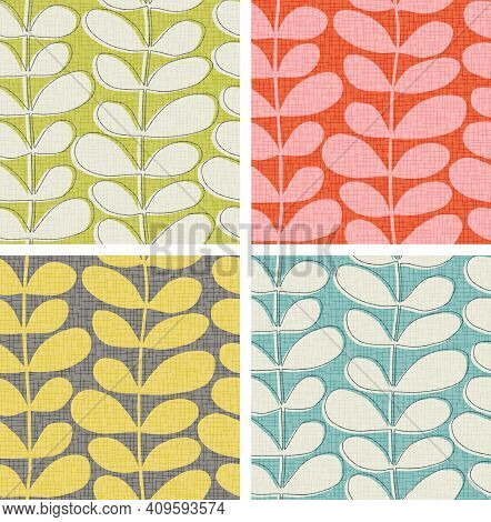 Seamless Abstract Leaf And Vine Pattern In 4 Color Ways With Texture Overlay. Scandinavian, Mid Cent