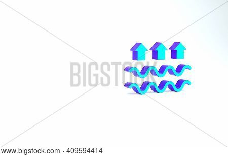 Turquoise Waves Of Water And Evaporation Icon Isolated On White Background. Minimalism Concept. 3d I