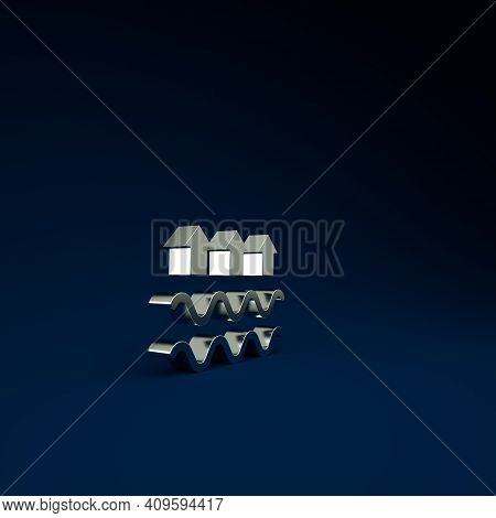 Silver Waves Of Water And Evaporation Icon Isolated On Blue Background. Minimalism Concept. 3d Illus