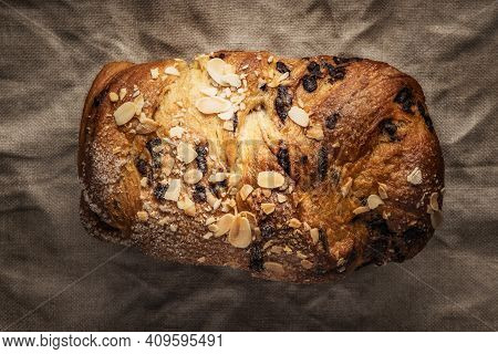 Holiday Easter Sweet Bread With Chocolate And Raisins, Homemade Baked Bread
