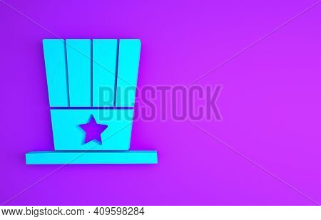 Blue Patriotic American Top Hat Icon Isolated On Purple Background. Uncle Sam Hat. American Hat Inde