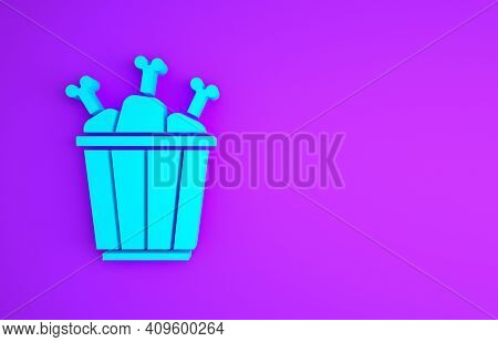 Blue Chicken Leg In Package Box Icon Isolated On Purple Background. Chicken Drumstick. Minimalism Co