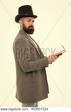 Back To School Is Never Late. Hipster Read Book Isolated On White. School Teaching. School And Educa