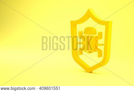 Yellow System Bug Concept Icon Isolated On Yellow Background. Code Bug Concept. Bug In The System. B