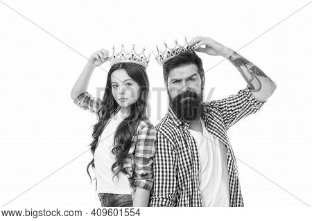 Are You Going To Prom. Prom King And Young Queen. Small Child And Bearded Man Hold Prom Crowns. Coro