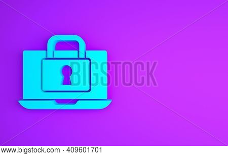 Blue Laptop And Lock Icon Isolated On Purple Background. Computer And Padlock. Security, Safety, Pro