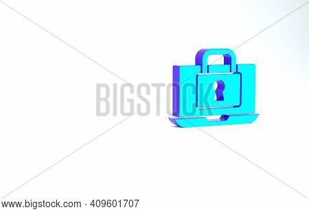 Turquoise Laptop And Lock Icon Isolated On White Background. Computer And Padlock. Security, Safety,