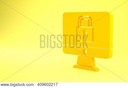 Yellow Lock On Computer Monitor Screen Icon Isolated On Yellow Background. Security, Safety, Protect