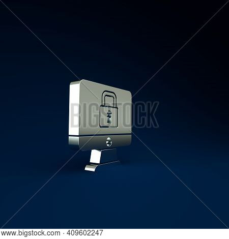 Silver Lock On Computer Monitor Screen Icon Isolated On Blue Background. Security, Safety, Protectio