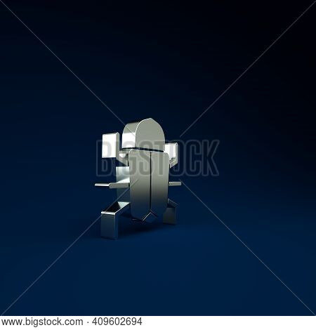 Silver System Bug Concept Icon Isolated On Blue Background. Code Bug Concept. Bug In The System. Bug