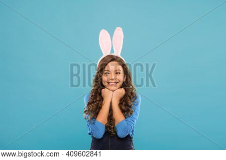 Celebrate In Style. Happy Girl Celebrate Easter. Little Girl Wear Rabbit Ears. Small Girl In Easter