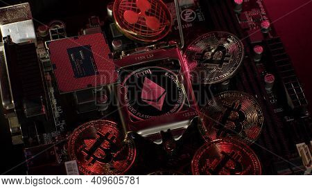Bitcoin Btc, Ripple, Ethereum And Cpu Central Processor On Digital Pc Motherboard. Mining, Market Tr