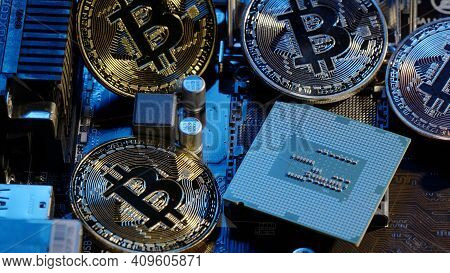 Bitcoin Mining. Btc And Cpu Central Processor On The Digital Technology Pc Motherboard. Market Tradi