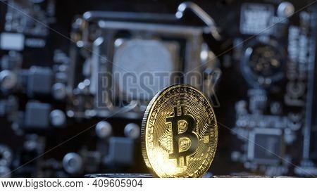 Bitcoin Mining. Bitcoin Btc On Digital Technology Pc Motherboard Background. Market Trading Cashless