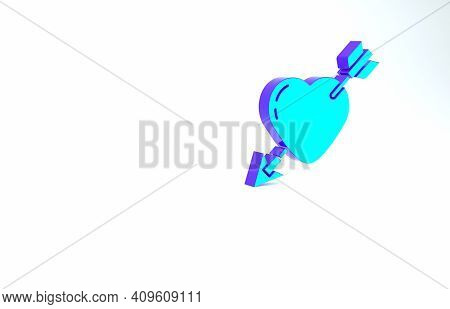 Turquoise Amour Symbol With Heart And Arrow Icon Isolated On White Background. Love Sign. Valentines