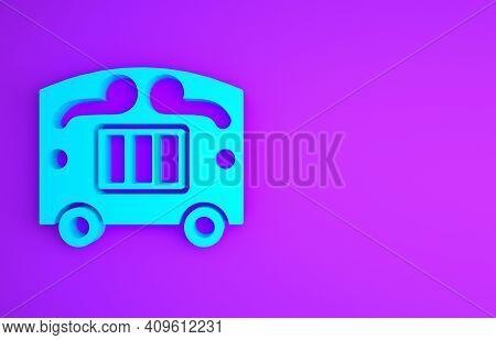 Blue Circus Wagon Icon Isolated On Purple Background. Circus Trailer, Wagon Wheel. Minimalism Concep
