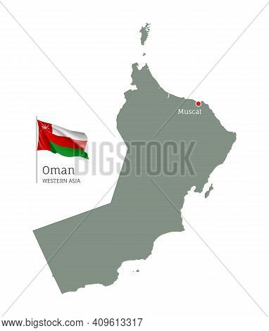 Silhouette Of Oman Country Map. Highly Detailed Editable Map Of Oman With National Flag And Muscat C