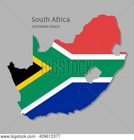Map Of Southern Africa With National Flag. Highly Detailed Map Of South Africa Country With Territor