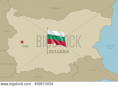 Highly Detailed Map Of Bulgaria Territory Borders, East European Country Administrative Map With Sof