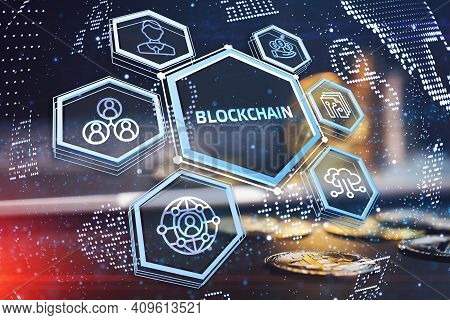 Crypto-currency,  Bitcoin Internet Virtual Money. Currency Technology Business Internet Concept.3d I