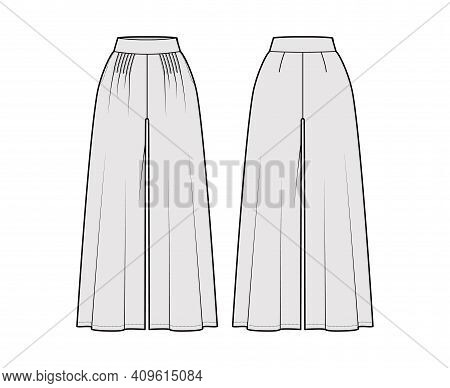 Pants Gaucho Technical Fashion Illustration With Normal Waist, High Rise, Pleats, Ankle Cropped Leng
