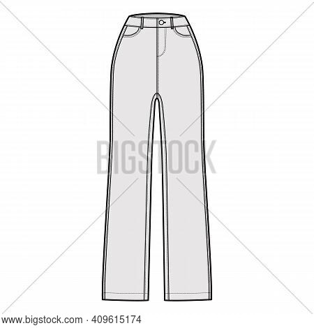 Jeans Denim Pants Technical Fashion Illustration With Full Length, Normal Waist, High Rise, 5 Pocket