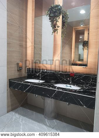 Wash Basin Made From Brown Color Marble On Top Counter And Automatic Sensor Water Tap, Social Distan