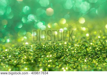 Spring Sparkle Background. Green Colorful Sparkles. Abstract Advertising