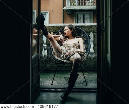 City Erotic Fashion. Sensual Woman On Balcony. Girl Outdoor. Fashion Portrait