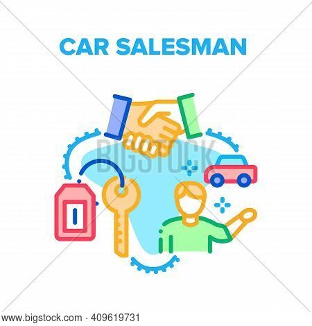 Car Salesman Vector Icon Concept. Car Salesman Selling New Transport And Customer Buying Product, Su
