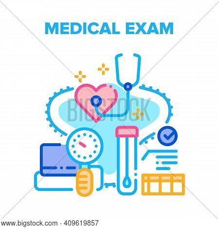 Medical Exam Vector Icon Concept. Patient Medical Exam Heart Health And Rhythm With Stethoscope And