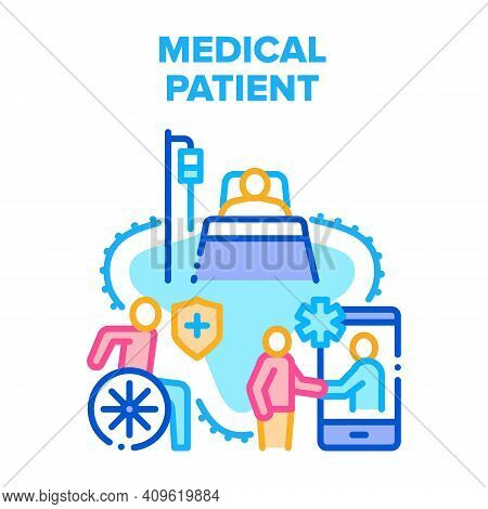 Medical Patient Vector Icon Concept. Invalid Disabled Human Riding Wheelchair, Patient Lying On Hosp